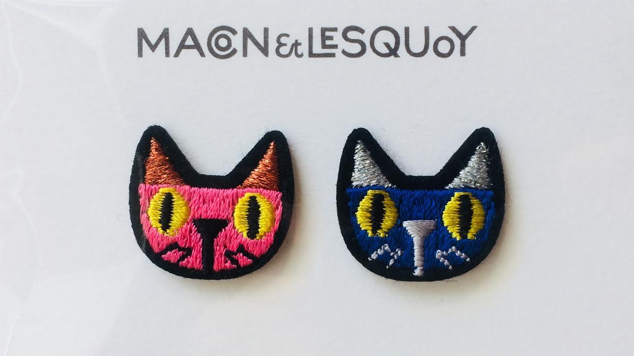 Écusson thermocollable rustine 2 chats MACON&LESQUOY chez Bee art&design Saint-Malo Intra-Muros