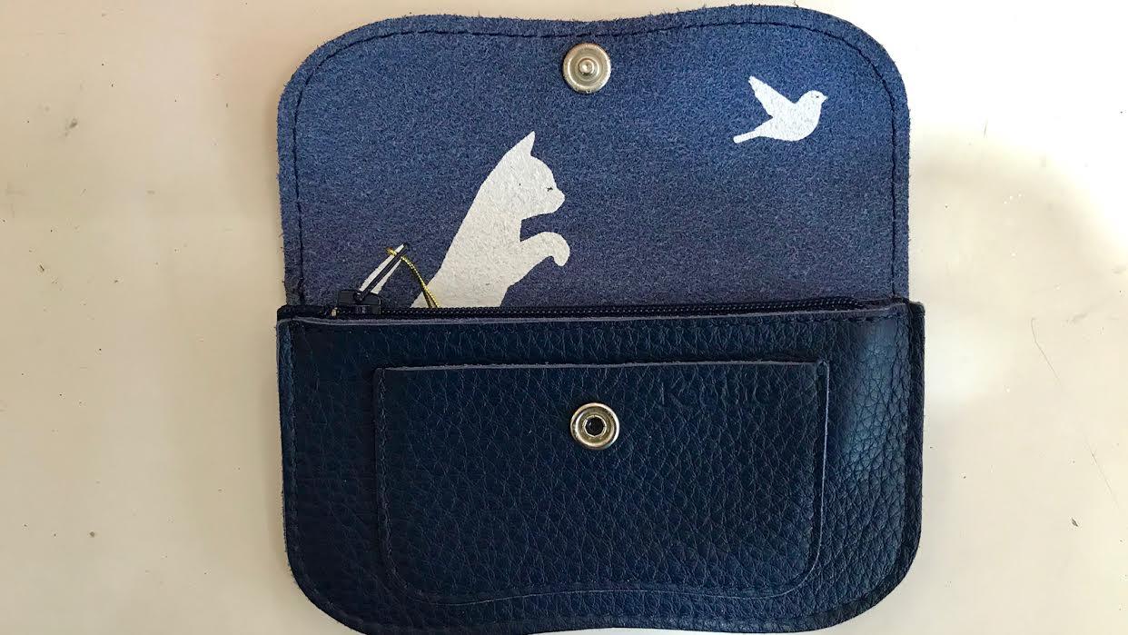 Portefeuille Keecie Amsterdam cuir bleu chez Bee art&design à Saint-Malo