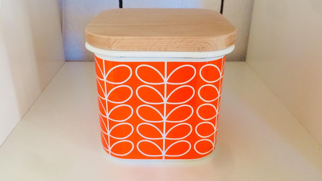 Pot de rangement en émail ORLA KIELY chez Bee art&design à Saint-Malo